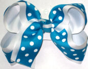 Sapphire with White Dots over White Large Double Layer Bow