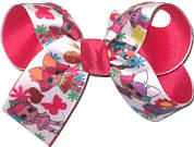 Medium LOL Characters over French Pink Double Layer Overlay Bow