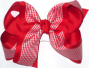 Red and White over Red Large Double Layer Bow