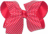 Large White Raised Dots on Red over Red Double Layer Overlay Bow