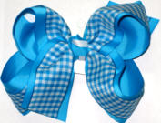Blue and White over Mystic Blue Large Double Layer Bow