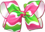 Large Shocking Pink and Lypple Wave Pattern over White Double Layer Overlay Bow