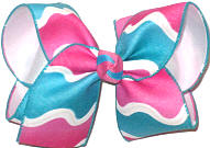 Large Shocking Pink and Turquoise Wave Pattern over White Double Layer Overlay Bow