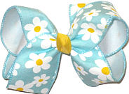 Large Daisies on Light Aqua over White Double Layer Overlay Bow
