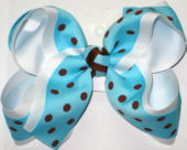 Mystic Blue with Brown Dots over White Large Double Layer Bow