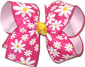 Large Daisies on Shocking Pink over Light Pink Double Layer Overlay Bow