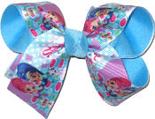Medium Shimmer and Shine Genies over Mystic Blue Double Layer Overlay Bow
