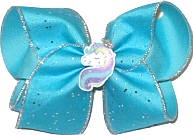 Large Unicorn Miniature with Silver Edge Chiffon over Mystic Blue Double Layer Overlay Bow