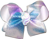 Large Unicorn Miniature with Purple Blue and White Sparkle Ribbon over White Double Layer Overlay Bow
