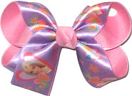 Medium Barbie on Light Orchid Satin over Pink Double Layer Overlay Bow