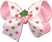 Medium Strawberry Miniature with Shocking Pink and Greens Dots on White over Light Pink Double Layer Overlay Bow