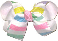 Medium Blue Pink Green and Yellow Pastel Glitter Stripes over White Double Layer Overlay Bow