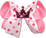 Medium Shocking Pink Metallic Finish Princess Crown with Pink Dots on White over Pink Double Layer Overlay Bow