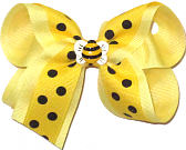 Medium Bumble Bee Miniature on Maize with Black Dots over Baby Maize Double Layer Overlay Bow
