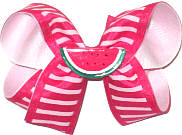 Medium Watermelon Miniature on Shocking Pink and White Stripe over White Double Layer Overlay Bow