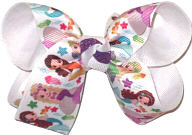 Medium Mermaids over White Double Layer Overlay Bow