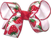Medium Strawberries on White Satin over White Double Layer Overlay Bow