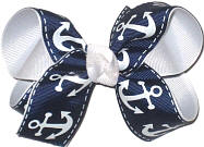 Medium Navy with White Anchors over White Double Layer Overlay Bow