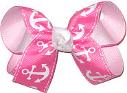 Medium Hot Pink with White Anchors over White Double Layer Overlay Bow