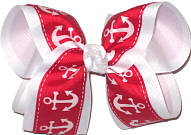 Large Red with White Anchors over White Double Layer Overlay Bow
