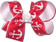 Medium Red with White Anchors over White Double Layer Overlay Bow
