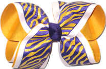 Large Three Layer Purple and Yellow Gold Glitter Tiger Strip over White over Yellow Gold Triple Layer Overlay Bow