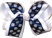 Large Silver Glitter Dots on Navy Satin over WHite Double Layer Overlay Bow