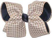 Large Khaki and White Canvas Check over Navy Double Layer Overlay Bow
