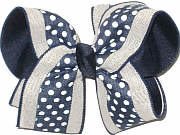Large White Dots on Navy with Canvas Border over Navy Double Layer Overlay Bow