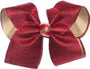 Large Cranberry Textured Ribbon over Khaki Double Layer Overlay Bow