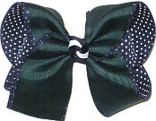 Large Forestover Navy with White Microdots Double Layer Overlay Bow