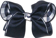 Large Navy over Navy and White Plaid Double Layer Overlay Bow