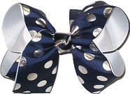 Large Navy with Silver Coin Dots over White Double Layer Overlay Bow