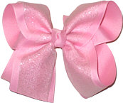 Pink Glitter over Pink Large Double Layer Bow