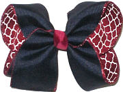 Large Navy over Burgundy and White Quatrafoil Double Layer Overlay Bow