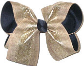 Large Khaki Canvas with Gold Glitter Stripe over Navy Double Layer Overlay Bow