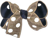 Medium Khaki with White Coin Dots over Navy Double Layer Overlay Bow