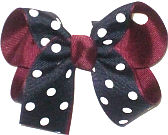 Medium Navy with White Dots over Burgundy Double Layer Overlay Bow