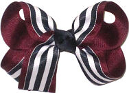 Medium Navy and White Stripes over Burgundy Double Layer Overlay Bow