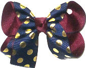 Medium Navy with Metallic Gold Dots over Burgunday Double Layer Overlay Bow