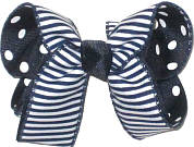Medium Navy and White Stripes over Navy with White Dots Double Layer Overlay Bow