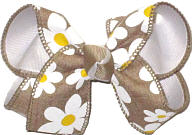 Medium Khaki Canvas with Daisies over White Double Layer Overlay Bow