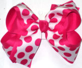White with Shocking Pink Dots over Shocking Pink Large Double Layer Bow