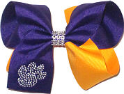 Large Purple and Gold with Crystal Pay Print and Rhinestone Center Double Layer Overlay Bow