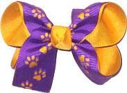 Medium Purple with Die Cut Tiger Paws over Yellow Gold Double Layer Overlay Bow