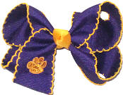 Medium Yellow Gold Monogrammed Tiger Paw on Purple and Yellow Gold Moonstitch Bow