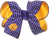 Medium Yellow Gold Monogrammed Tiger Paw on Purple with White Microdots over Yellow Gold Double Layer Overlay Bow