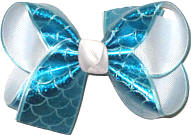 Medium Tourquoise Mermaid Scales over White Double Layer Overlay Bow