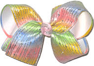 Large Triple Layer Silver Glitter Chiffon over Pastel Rainbow over White Triple Layer Overlay Bow