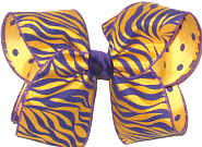 Large Purple and Gold Tiger Stripes over Purple Dots on Yellow Gold Double Layer Overlay Bow
